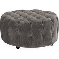 Product photograph showing Reedy Velvet Deep Buttoned Foot Stool In Grey Finish