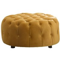 Product photograph showing Reedy Velvet Deep Buttoned Foot Stool In Mustard Finish