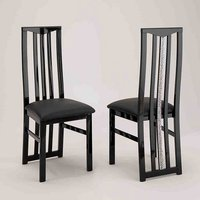 Product photograph showing Regal Wooden Dining Chair In Black With Crystal Details