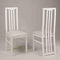 Product photograph showing Regal Wooden Dining Chair In White With Crystal Details