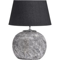 Product photograph showing Reglan Ceramic Table Lamp In Aged Stone With Black Shade