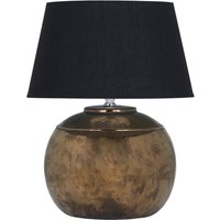 Product photograph showing Reglan Metallic Ceramic Table Lamp In Bronze With Black Shade