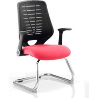 Relay Black Back Office Visitor Chair With Bergamot Cherry Seat