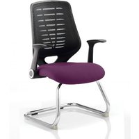 Product photograph showing Relay Black Back Office Visitor Chair With Tansy Purple Seat