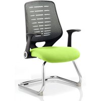 Product photograph showing Relay Silver Back Office Visitor Chair With Myrrh Green Seat