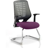 Product photograph showing Relay Silver Back Office Visitor Chair With Tansy Purple Seat