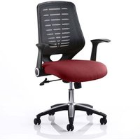Product photograph showing Relay Task Black Back Office Chair With Ginseng Chilli Seat