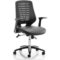 Product photograph showing Relay Task Black Back Office Chair With Leather Black Seat