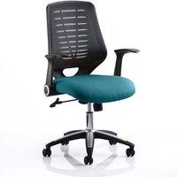 Product photograph showing Relay Task Black Back Office Chair With Maringa Teal Seat