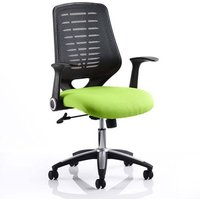 Product photograph showing Relay Task Black Back Office Chair With Myrrh Green Seat
