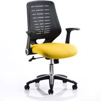 Product photograph showing Relay Task Black Back Office Chair With Senna Yellow Seat