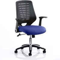 Product photograph showing Relay Task Black Back Office Chair With Stevia Blue Seat