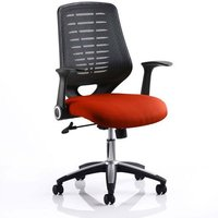 Product photograph showing Relay Task Black Back Office Chair With Tabasco Red Seat