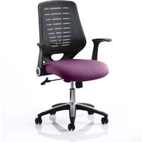 Product photograph showing Relay Task Black Back Office Chair With Tansy Purple Seat