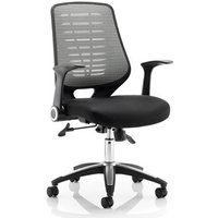 Product photograph showing Relay Task Silver Back Office Chair With Airmesh Black Seat