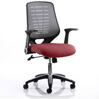 Product photograph showing Relay Task Silver Back Office Chair With Ginseng Chilli Seat