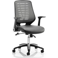 Product photograph showing Relay Task Silver Back Office Chair With Leather Black Seat