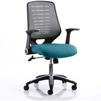 Product photograph showing Relay Task Silver Back Office Chair With Maringa Teal Seat
