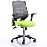 Product photograph showing Relay Task Silver Back Office Chair With Myrrh Green Seat