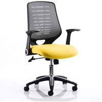Product photograph showing Relay Task Silver Back Office Chair With Senna Yellow Seat