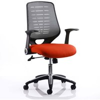Product photograph showing Relay Task Silver Back Office Chair With Tabasco Red Seat
