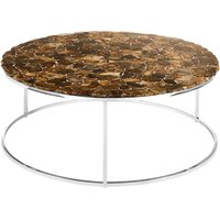 Relics Agate Stone Top Round Coffee Table With Chorme Frame