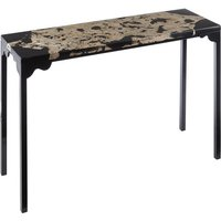 Product photograph showing Relics Rectangular Cheese Stone Console Table In Black