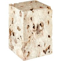 Product photograph showing Relics Rectangular Cheese Stone Stool In Mineral Accent