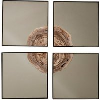 Product photograph showing Relics Square 4pc Mosaic Effect Wall Mirror In Warm Silver Frame