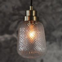 Product photograph showing Remy Wall Hung Glass Pendant Light In Brass