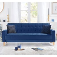 Product photograph showing Resita Velvet Upholstered Sofa Bed In Blue