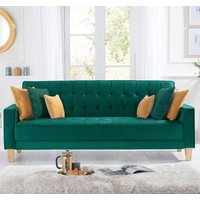 Product photograph showing Resita Velvet Upholstered Sofa Bed In Green