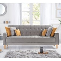 Product photograph showing Resita Velvet Upholstered Sofa Bed In Grey