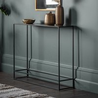 Product photograph showing Retiro Console Table In Antique Gold With Black Metal Frame