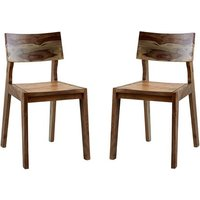 Product photograph showing Reverso Two Tone Oak Wooden Dining Chairs In Pair