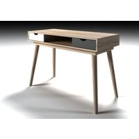 Rhine Laptop Desk In Sonoma Oak With White And Grey Drawers