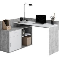 Product photograph showing Rhyl Corner Wooden Computer Desk In Concrete Effect And White