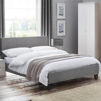 Rialto Linen Fabric Single Bed In Light Grey