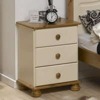 Richmond Wooden Bedside Cabinet In Cream And Pine With 3 Drawers
