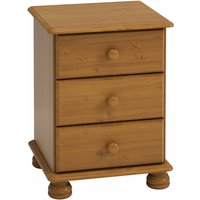 Richmond Wooden Bedside Cabinet In Pine With 3 Drawers