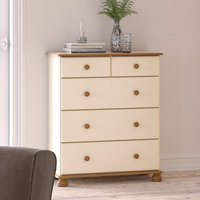 Richmond Wooden Chest Of Drawers In Cream And Pine With 5 Drawer