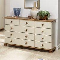 Richmond Wooden Chest Of Drawers In Cream And Pine With 9 Drawer