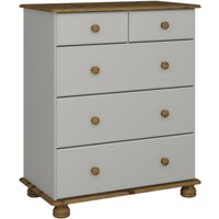 Richmond Wooden Chest Of Drawers In Grey And Pine With 5 Drawers