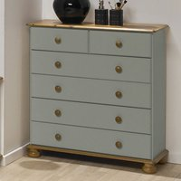 Richmond Wooden Chest Of Drawers In Grey And Pine With 6 Drawers