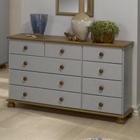 Richmond Wooden Chest Of Drawers In Grey And Pine With 9 Drawers