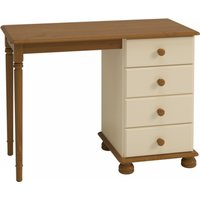 Product photograph showing Richmond Wooden Dressing Table In Cream And Pine With 4 Drawers