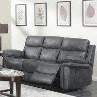 Product photograph showing Richmond Fabric 3 Seater Recliner Sofa In Charcoal Grey