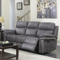 Product photograph showing Richmond Fabric 3 Seater Recliner Sofa In Graphite Grey