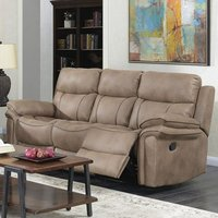 Product photograph showing Richmond Fabric 3 Seater Recliner Sofa In Sahara