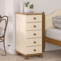 Richmond Narrow Chest Of Drawers In Cream And Pine With 5 Drawer